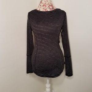 90 Degree by Reflex Long Sleeve Black Striped Tee
